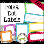 FREE Polka Dot Classroom Labels