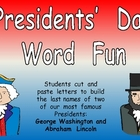 FREE Presidents' Day Word Fun for Kindergarten