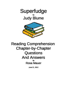"FREE Sample printable ""Superfudge"" Reading Comprehension Q"