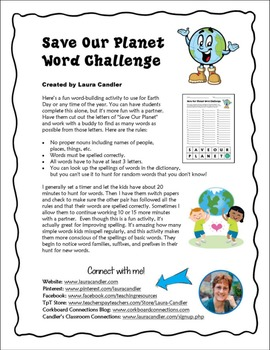 FREE Save Our Planet Word Challenge