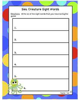 FREE Sea Creature Sight Word Match