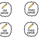 FREE Sharp & Dull Pencil Supply Labels