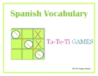 FREE Spanish Tic Tac Toe Vocabulary Games