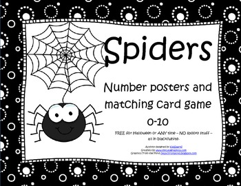 FREE Spiders Number Posters and Matching Card Game 0-10