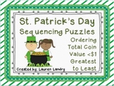 FREE St. Patrick's Day Sequencing Puzzles Total Coin Value