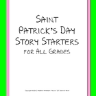 FREE St. Patrick's Day Story Starters Writing Prompts K-5