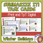 FREE Summarizing Task Cards for Christmas, Hanukkah, and Kwanzaa