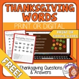 FREE Thanksgiving Word Activity