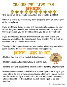 FREE Turkey Trot math game