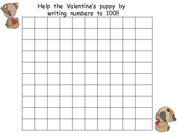 FREE Valentine's Day Writing Numbers to 100- Kindergarten