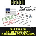 FREE Water Fountain & Bathroom Procedures: 9 pages of tips