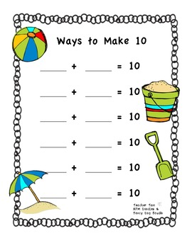FREE Ways to Make 10 Game--Summer Version