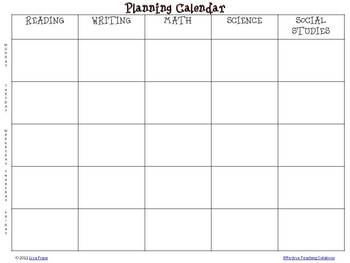 FREE Weekly Planning Calendar for Elementary Self-Containe