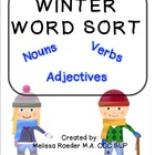 FREE ~Winter Word Sort~ Nouns, Verbs, & Adjectives