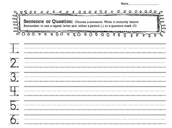 FREE!  Writing Sentences and Questions