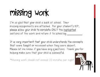 FREE Zebra Theme Absent or Missing Work Folder Cover-Note Home