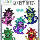 FREE on TpT!!  Rockin' Dino Clip Art / Graphics