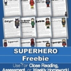 FREEBIE: 1 Superhero Passage for Close Reading, Homework,