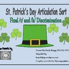FREEBIE* Articulation Sort for St. Patrick's Day: Final /t