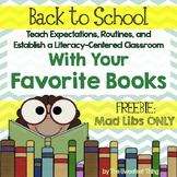 FREE [Back to School] With Your Favorite Books: Mad Libs
