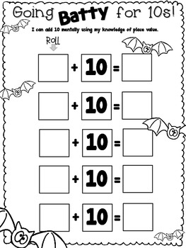 FREEBIE! Going Batty for 10's {Halloween CCSS Math Activity}