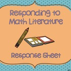 FREEBIE! Math Response Sheet: Responding to Math Literature