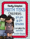 FREEBIE Math TEKS Checklists for 3rd, 4th and 5th Grade