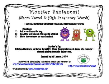 FREEBIE: Short Vowel Monster Sentences