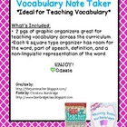 FREEBIE~ Vocabulary Note Taker