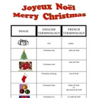 FRENCH - Christmas Noel Vocabulary Sheet and KEY