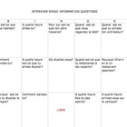 FRENCH Interview Bingo  Information Questions