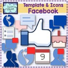 Facebook alike template and icons clipart