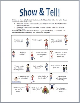 Fact & Opinion: Show and Tell