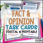 Fact &amp; Opinion Task Cards 64 Cards { Pictures and Text }