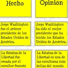 Fact and Opinion Cards in Spanish