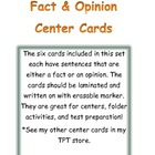 Fact and Opinion Center Cards