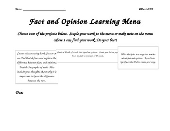 Fact and Opinion Learning Menu