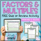 Factors Multiples Prime and Composite Number QUIZ