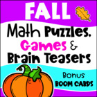 Fall / Autumn Math Games Puzzles and Brain Teasers