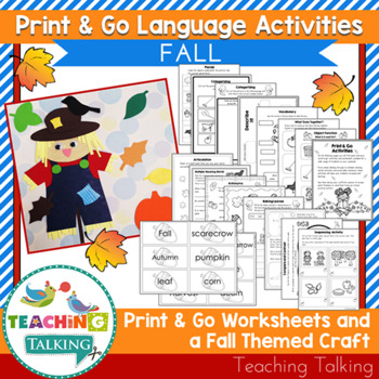 Fall Craftivity & Worksheets