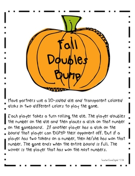 Fall Doubles Bump Math Game