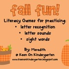 Fall Fun: Literacy Games Pack
