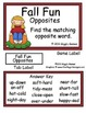 Fall Fun Opposites File Folder Game