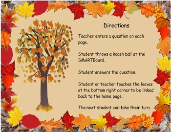 Fall Leaves Koosh Ball SMARTBoard Game