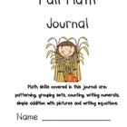 Fall Literacy-Based Math Journal Patterns Counting Addition Sets