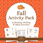 Fall Literacy and Math Activity Pack for Learning Centers