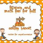 Fall Literacy and Math Center Mega Packet{21 Centers}