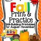 Fall Print and Practice {Skill Building Activites for Firs