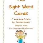 Fall Sight Word Cards for Word Work
