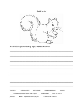 "Fall: Squirrel ""Quick Write"""